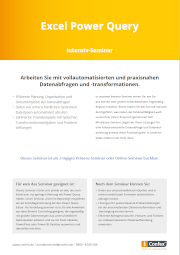 Deckblatt der Infobroschüre: Excel Power Query
